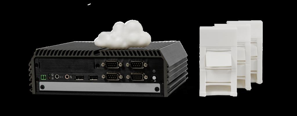 Maschinen-Modelle, einen Wolke und ein Edge Device als Symbolbild für Edge- und Cloud Computing