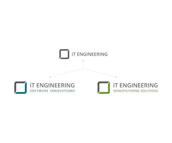 altes Logo iT Engineering GmbH und neue Logos iTE Software Innovations und iTE Manufacturing Solutions