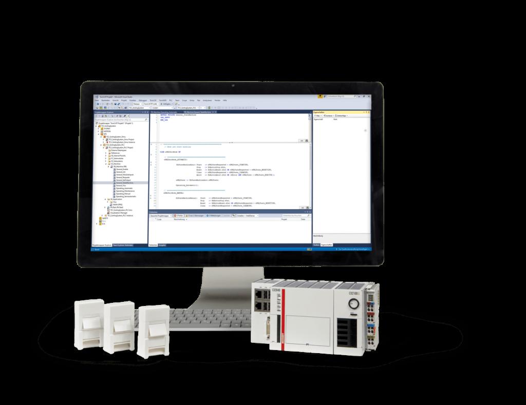 Speicherprogrammierbare Steruerung und Bildschirm mit Software für SPS