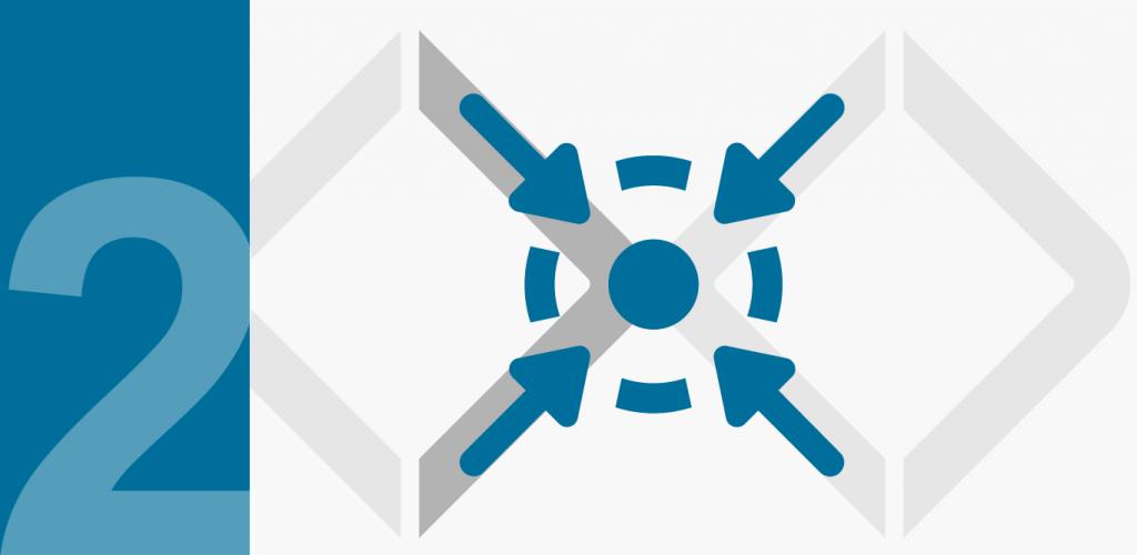 zwei Diamanten und Fokus-Icon als Symbol für Phase 1