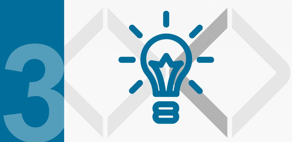 zwei Diamanten und Glühbirne als Symbol für Phase 3