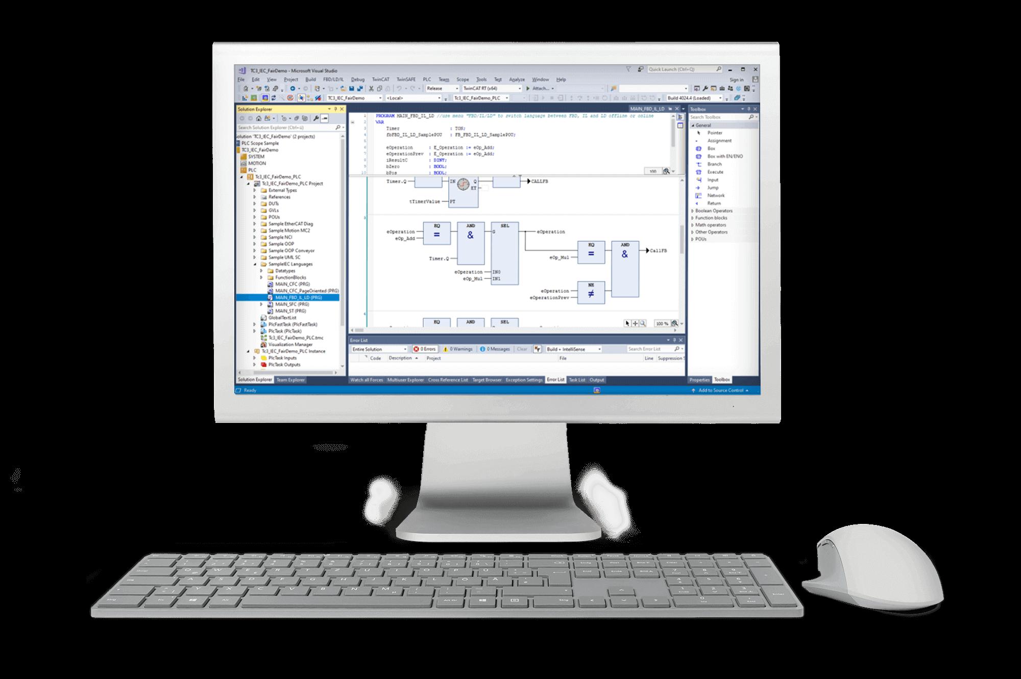 Desktop-Bildschirm Screenshot von TwinCat3 Programmierung